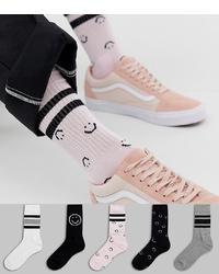 ASOS DESIGN Sports Socks With Smile Design 5 Pack