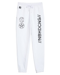 White and Black Print Sweatpants