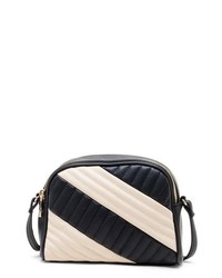 White and Black Quilted Leather Crossbody Bag