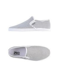White and Black Slip-on Sneakers