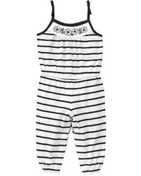 White and Black Striped Romper