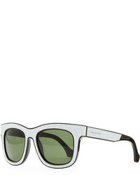Balenciaga Cracked Square Sunglasses Whiteblack