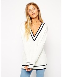Cricket sweater with v neck and tipping white medium 117341