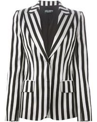 White and Black Vertical Striped Blazers for Women | Women's Fashion