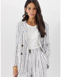ASOS DESIGN Gutsy Linen Relaxed Blazer In Stripe