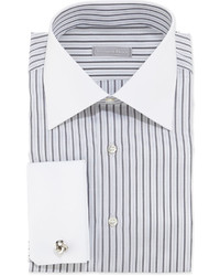 White and Black Vertical Striped Dress Shirt