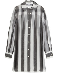 Seawind striped silk organza shirt black medium 536428