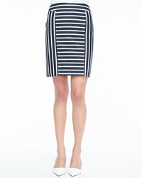 White and Black Vertical Striped Pencil Skirt