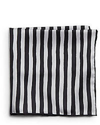 White and Black Vertical Striped Pocket Square