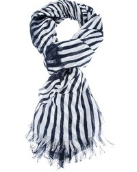 White and Black Vertical Striped Scarf