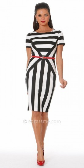Black and White Stripe Cocktail Dress
