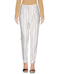 White and Black Vertical Striped Tapered Pants