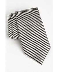 Woven silk tie black white regular medium 716954