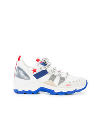 White and Blue Athletic Shoes