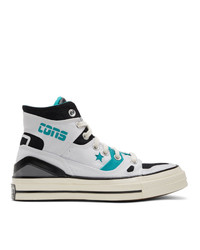 White and Blue Canvas High Top Sneakers