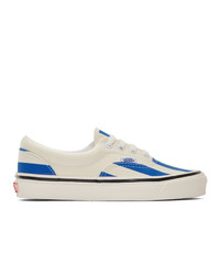White and Blue Canvas Low Top Sneakers