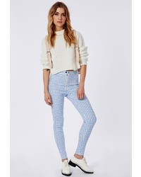 White and Blue Check Skinny Pants