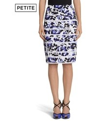 White and Blue Floral Pencil Skirt