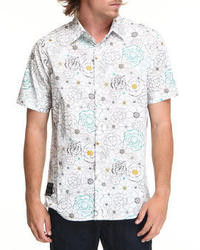 White and Blue Floral Short Sleeve Shirt