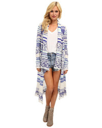 White and Blue Geometric Open Cardigan
