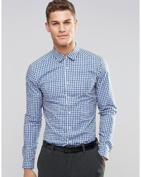 Asos Brand Skinny Shirt In Blue Gingham Check With Long Sleeves