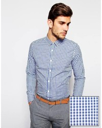 Asos Brand Smart Shirt In Long Sleeve With Medium Gingham Check