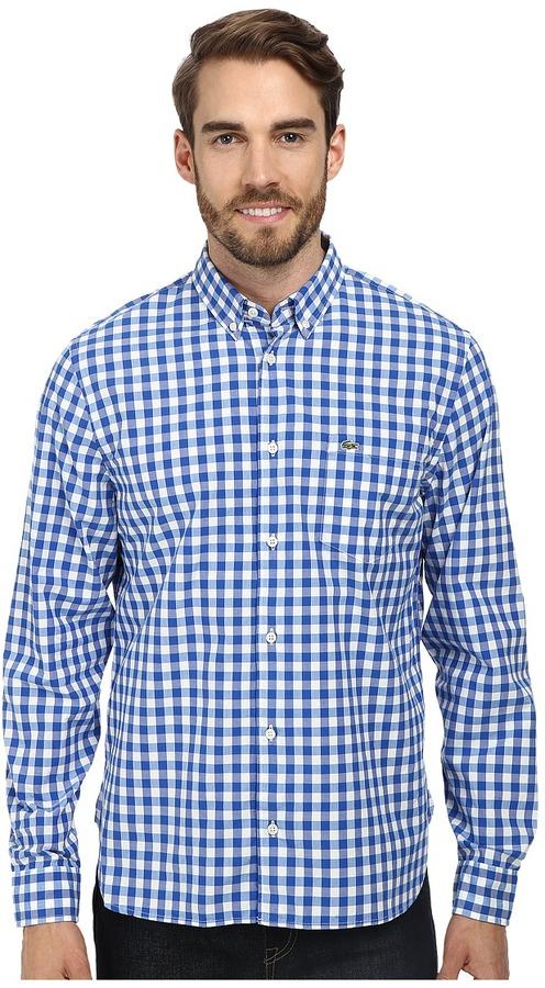 ... Lacoste Long Sleeve Gingham Poplin Woven Shirt