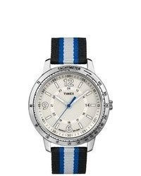 White and Blue Horizontal Striped Canvas Watch