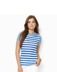 White and Blue Horizontal Striped Crew-neck T-shirt
