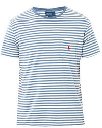 White and Blue Horizontal Striped Crew-neck T-shirt