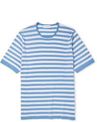 b91a7ff938 White and Blue Horizontal Striped Crew-neck T-shirts for Men | Men's ...