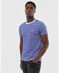 French Connection Feeder Yarn Dye Striped T Shirtbright Blue