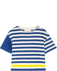 Solid and striped the tee striped cotton blend terry top bright blue medium 672603