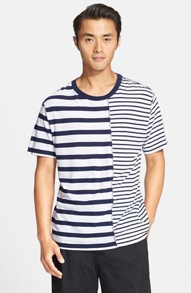 Alexander Wang T By Mixed Stripe Linen Cotton T Shirt