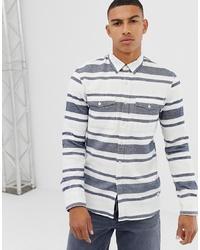 White and Blue Horizontal Striped Long Sleeve Shirt