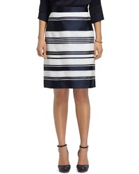 White and Blue Horizontal Striped Pencil Skirt