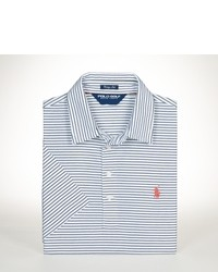 White and Blue Horizontal Striped Polo