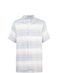 White and Blue Horizontal Striped Short Sleeve Shirt