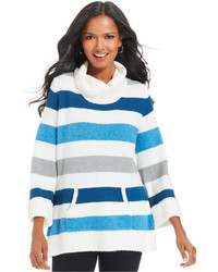 White and Blue Horizontal Striped Turtleneck