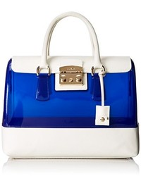 White and Blue Leather Satchel Bag