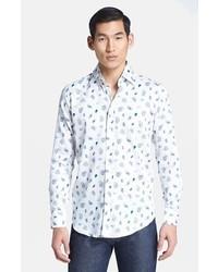 Etro Micro Paisley Print Sport Shirt White 44