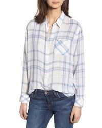 White and Blue Plaid Dress Shirt