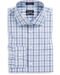 White and Blue Plaid Dress Shirt