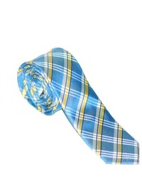 White and Blue Plaid Tie