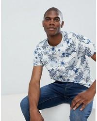 Burton Menswear Floral Print T Shirt In Ecru