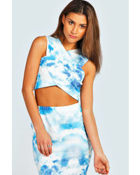 White and Blue Print Cropped Top