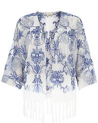 White and Blue Print Kimono