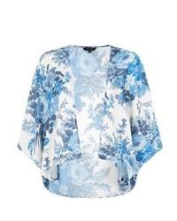 New look blue and white floral kimono medium 259390