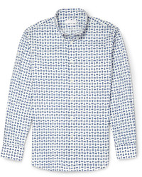 Alexander McQueen Slim Fit Printed Cotton Poplin Shirt