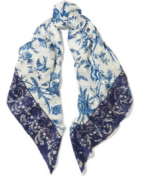 White and Blue Print Scarf